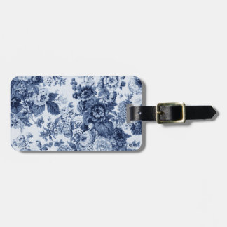 Indigo Blue Vintage Botanical Floral Toile No.3 Luggage Tag