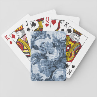 Indigo Blue Vintage Floral Toile Fabric No.4 Playing Cards
