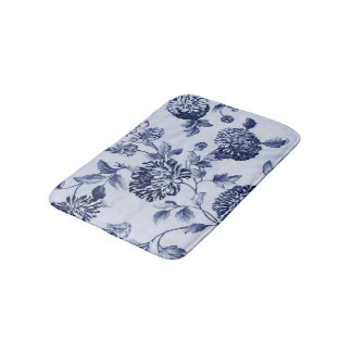 Indigo Blue Vintage Floral Toile No.2 Bath Mats