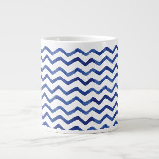 Indigo Blue Watercolor Zigzag-Chevron | Mug