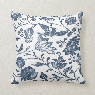 Indigo Blue Woodblock Floral Pillow