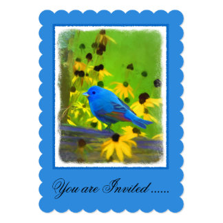 Indigo Bunting Painting - Original Bird Art Card