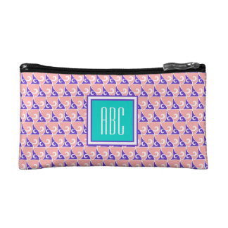 Indigo & Coral Print Monogram Cosmetic Bag
