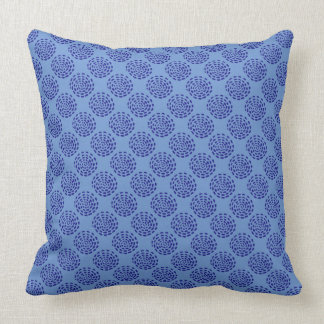 Indigo dark blue striped circle pattern on blue throw pillow