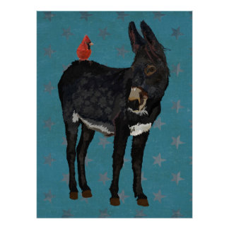 INDIGO DONKEY & CARDINAL Art Poster