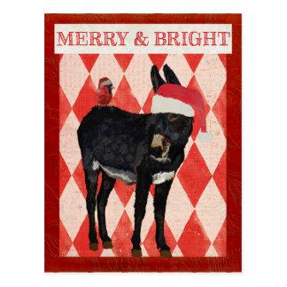INDIGO DONKEY & CARDINAL CHRISTMAS Postcard