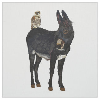 INDIGO DONKEY & OWL Fabric