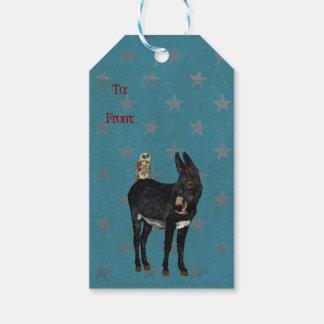 INDIGO DONKEY & OWL Gift Tag