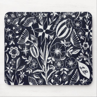 Indigo Floral bouquet - personalized initials Mouse Pad