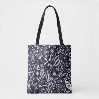 Indigo Floral bouquet - personalized initials Tote Bag
