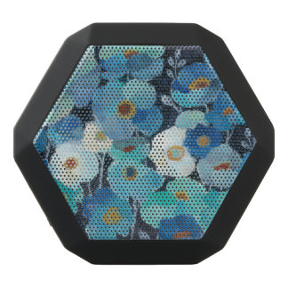Indigo Flowers Black Bluetooth Speaker