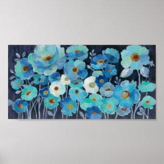 Indigo Flowers Poster