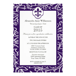 Indigo Gray Fleur de Lis Floral Formal Graduation Custom Invites