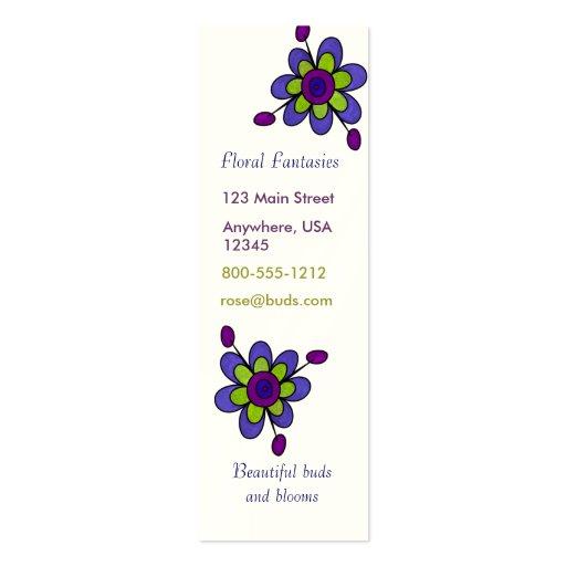 Indigo & Green Fun Flowers Business Card Template