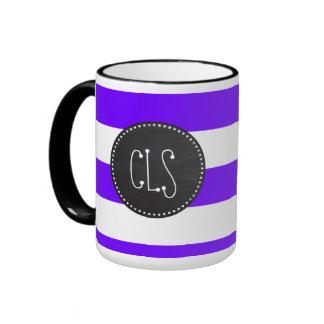 Indigo Horizontal Stripes; Chalkboard Ringer Mug