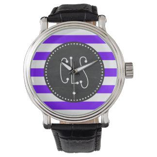 Indigo Horizontal Stripes; Chalkboard Watch