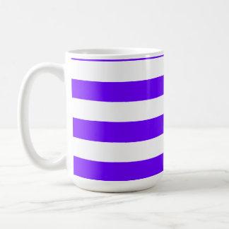 Indigo Horizontal Stripes; Striped Basic White Mug