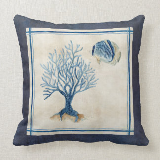 Indigo Ocean Beach Sketchbook Watercolor Coral F Cushion