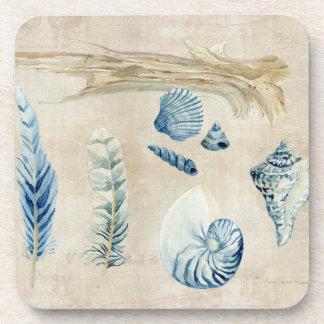 Indigo Ocean Beach Sketchbook Watercolor Shells Coaster