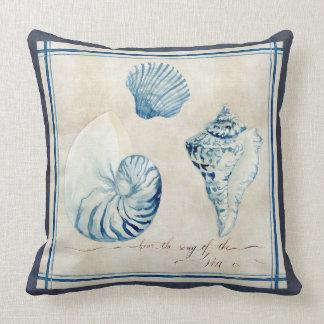 Indigo Ocean Beach Sketchbook Watercolor Shells Cushion