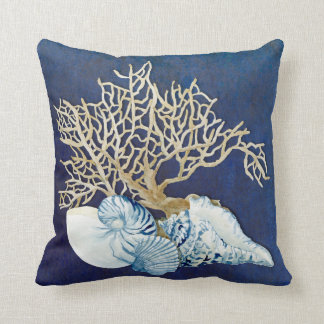 Indigo Ocean Coral Seashells Nautical Beach House Cushion