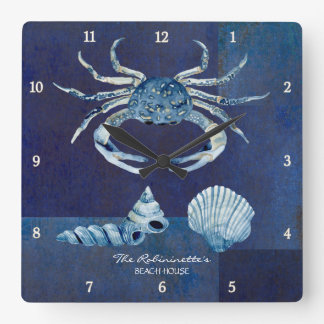 Indigo Ocean Crab Seashells Nautical Beach House Square Wall Clock