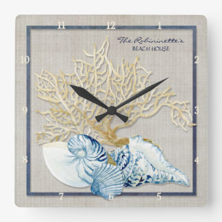 Indigo Ocean Crab Seashells Nautical Beach House Wallclock