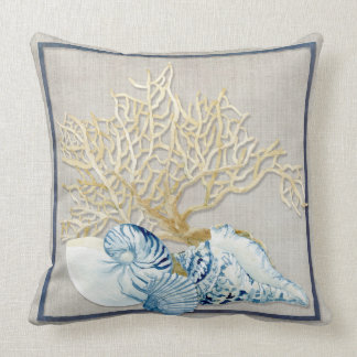 Indigo Ocean Nautilus Conch Scallop Coral Shells Cushion