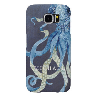 Indigo Ocean Octopus w Red Coral Watercolor Art Samsung Galaxy S6 Cases