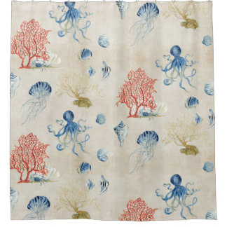 Indigo Ocean Red Fan Coral Jellyfish Octopus Shell Shower Curtain