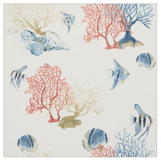 Indigo Ocean Red Fan Coral Tropical Fish Shells Fabric