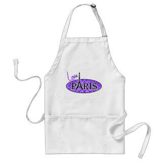 Indigo, Purple Damask; Paris; Eiffel Tower Aprons
