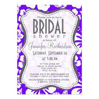 Indigo, Purple Hawaiian Tropical Hibiscus Personalized Invite