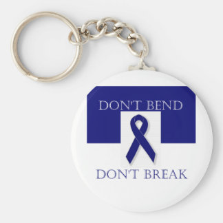 Indigo Ribbon- Don't Bend. Don't Break. DBI. Basic Round Button Key Ring