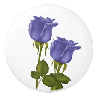 Indigo Roses Ceramic Knob