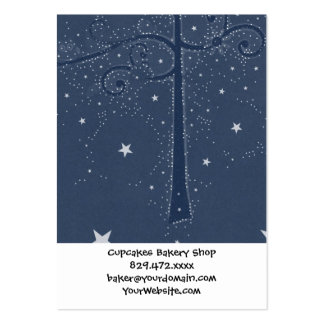 Indigo Sparkle Stars Scroll Tree at Night Pack Of Chubby Business Cards