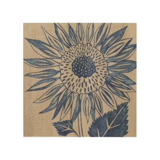Indigo Sunflower Wood Wall Art