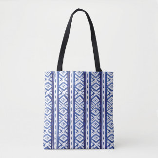 Indigo Tribal Ikat Pattern On | Tote Bag