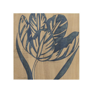 Indigo Tulip Wood Wall Art