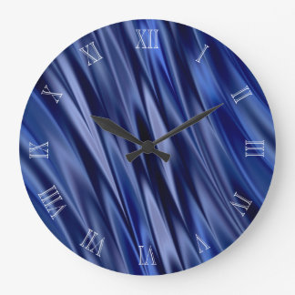Indigo & violet blue satin style stripes clocks