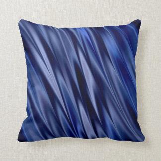 Indigo & violet blue satin style stripes cushion