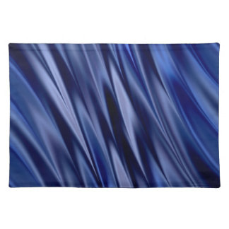 Indigo & violet blue satin style stripes placemat