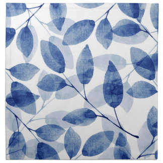 Indigo Watercolor Leaves Napkin
