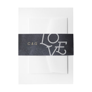 Indigo watercolor modern simple love wedding invitation belly band
