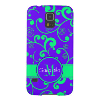 Indigo with Mint Scroll Design Custom Monogram Cases For Galaxy S5