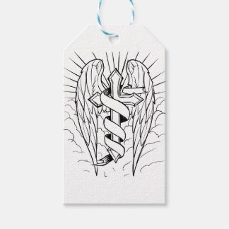 Individual cross with wings gift tags
