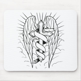 Individual cross with wings mouse pad