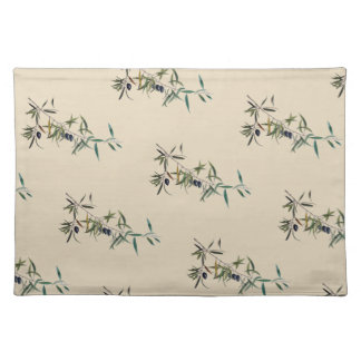 Individual table cloth with watercolor of olive placemat