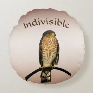 Indivisible Brown Hawk Round Pillow