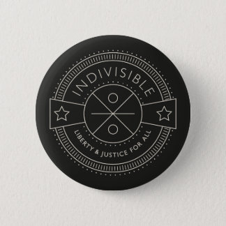 Indivisible, with liberty and justice for all. 6 cm round badge